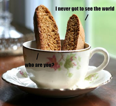 Here we see two pieces of biscotti in a coffee cup.  How delicious, yes?  Depends on your tastes I suppose.  Oh, also, these biscotti can talk.