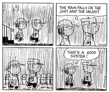 charlie brown, the rain falls on the just and the unjust