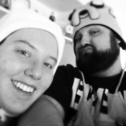 Chris and Julie with Adventure TIme hats